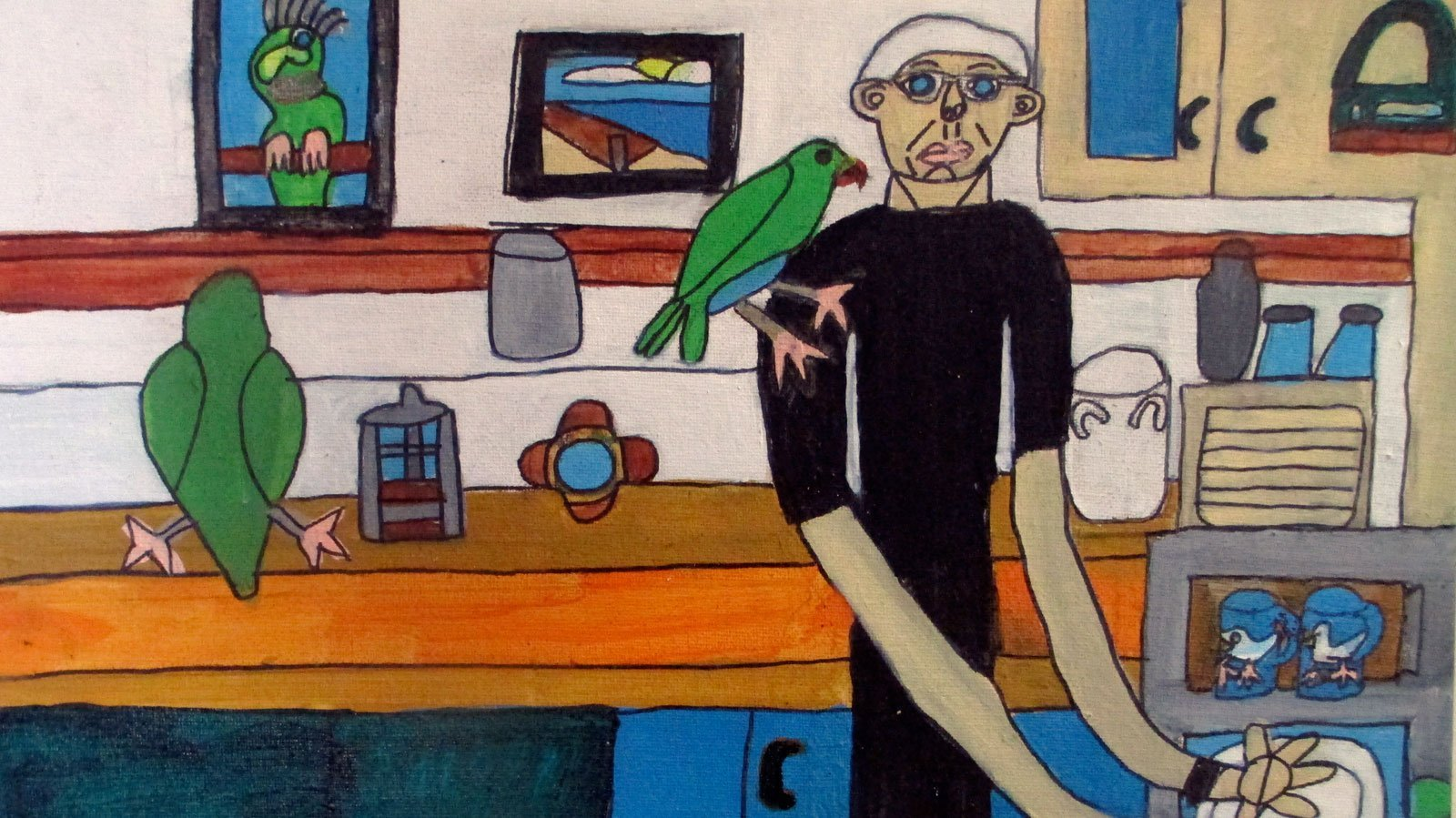 Noel Hart and his Parrots Zion Levy Painting