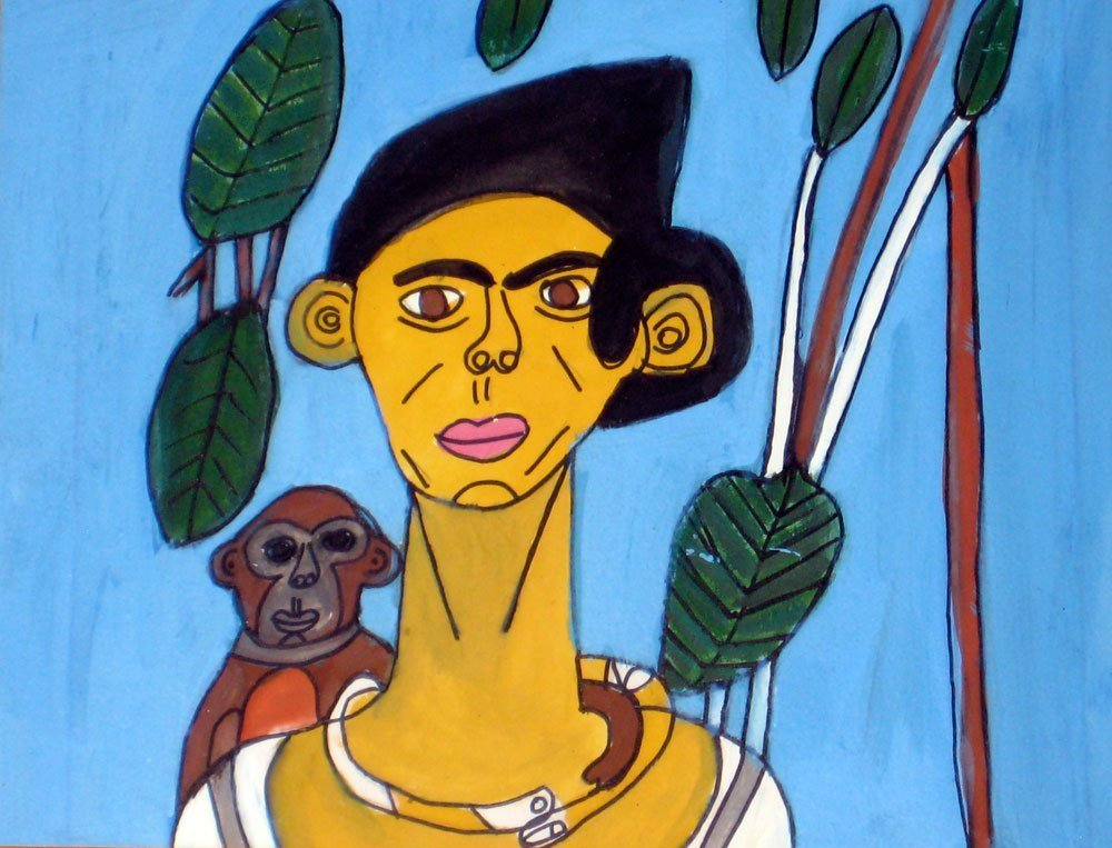 Frida Kahlo with Monkey Zion Levy Stewart Painting