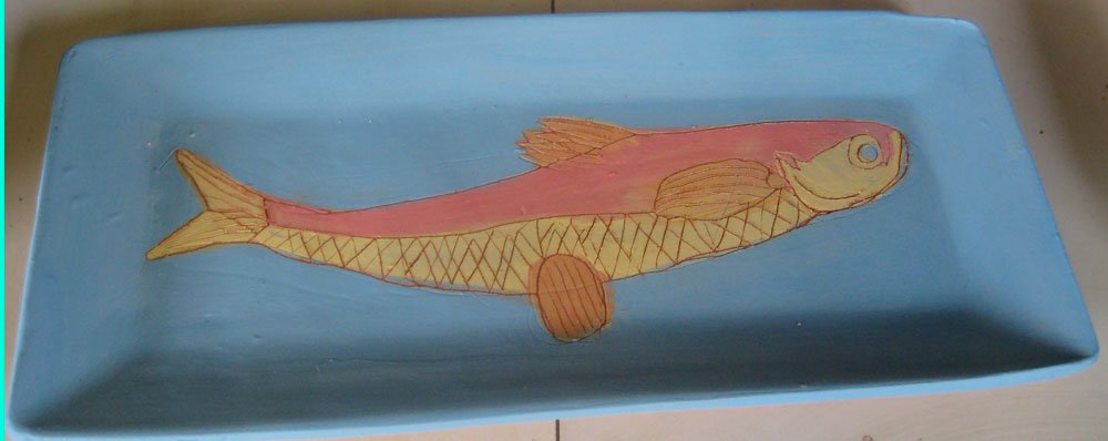 Salmon Fish Plate Zion Levy Stewart Ceramic Art