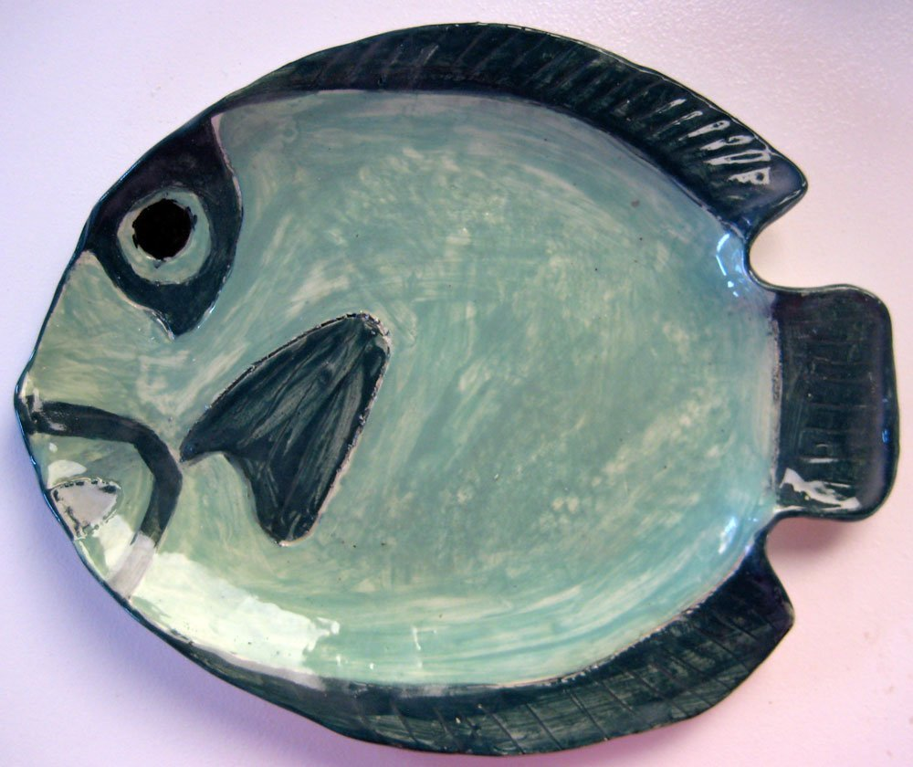 Green fish plate ceramic art zion stewart levy