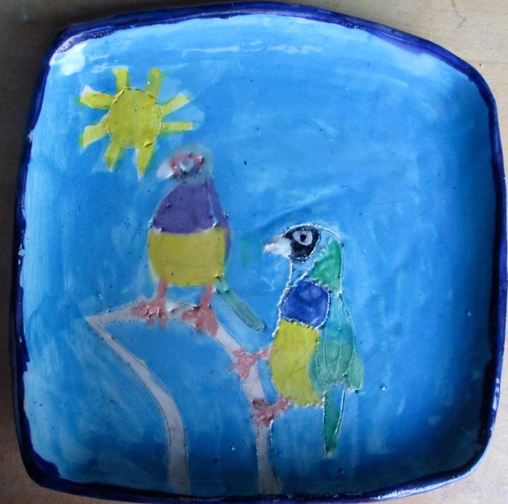 Blue Birds Plate Zionart Ceramic studio Mullumbimby Australia
