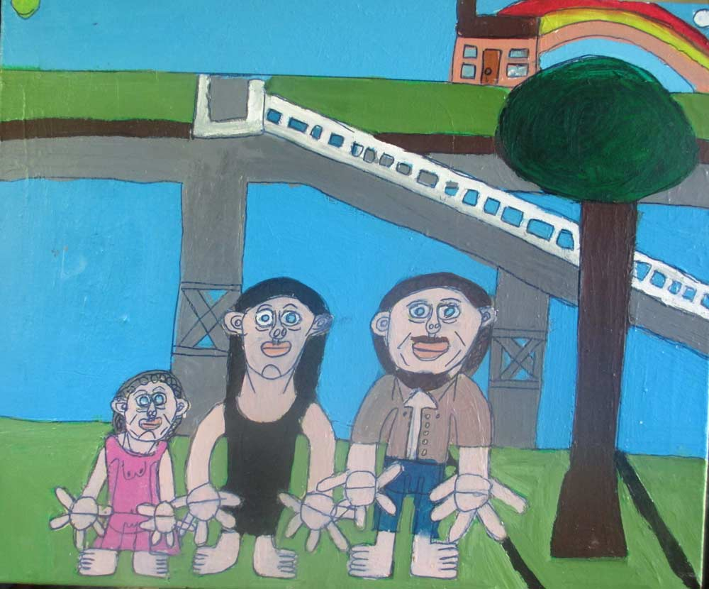 Family Day Out a Painting by Zion Levy Stewart an artist from Mullumbimby Australia