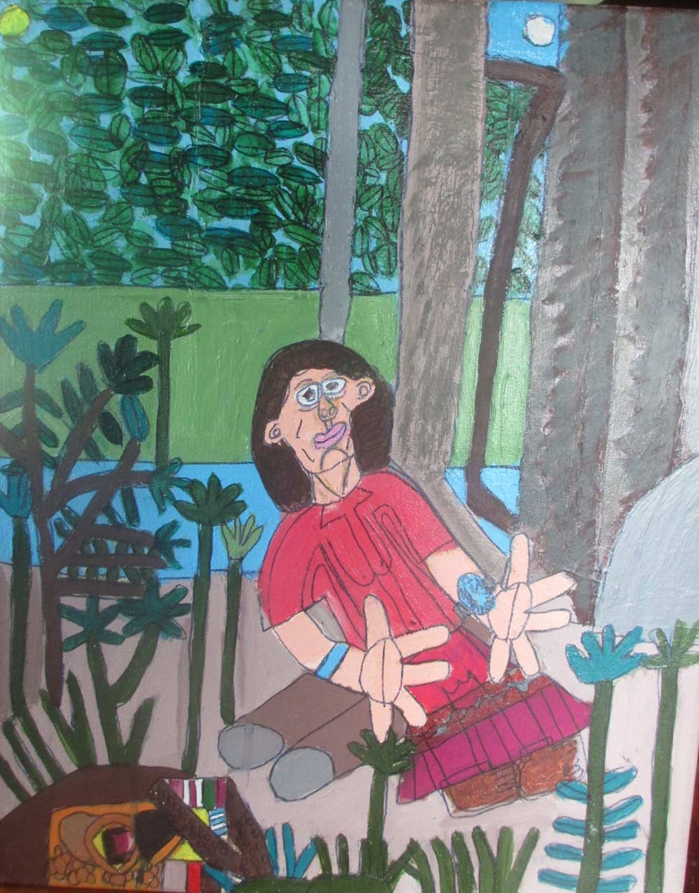 Mum by the River a Painting by Zion Levy Stewart an artist from Mullumbimby Australia