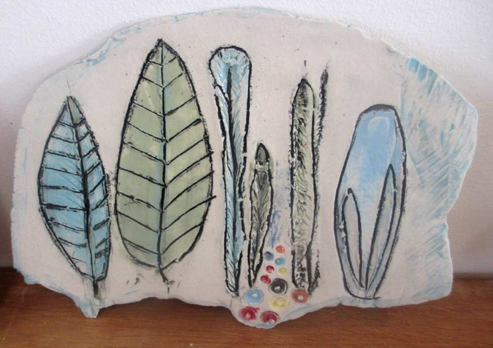 Botanical Plate Zionart Ceramic studio Mullumbimby Australia