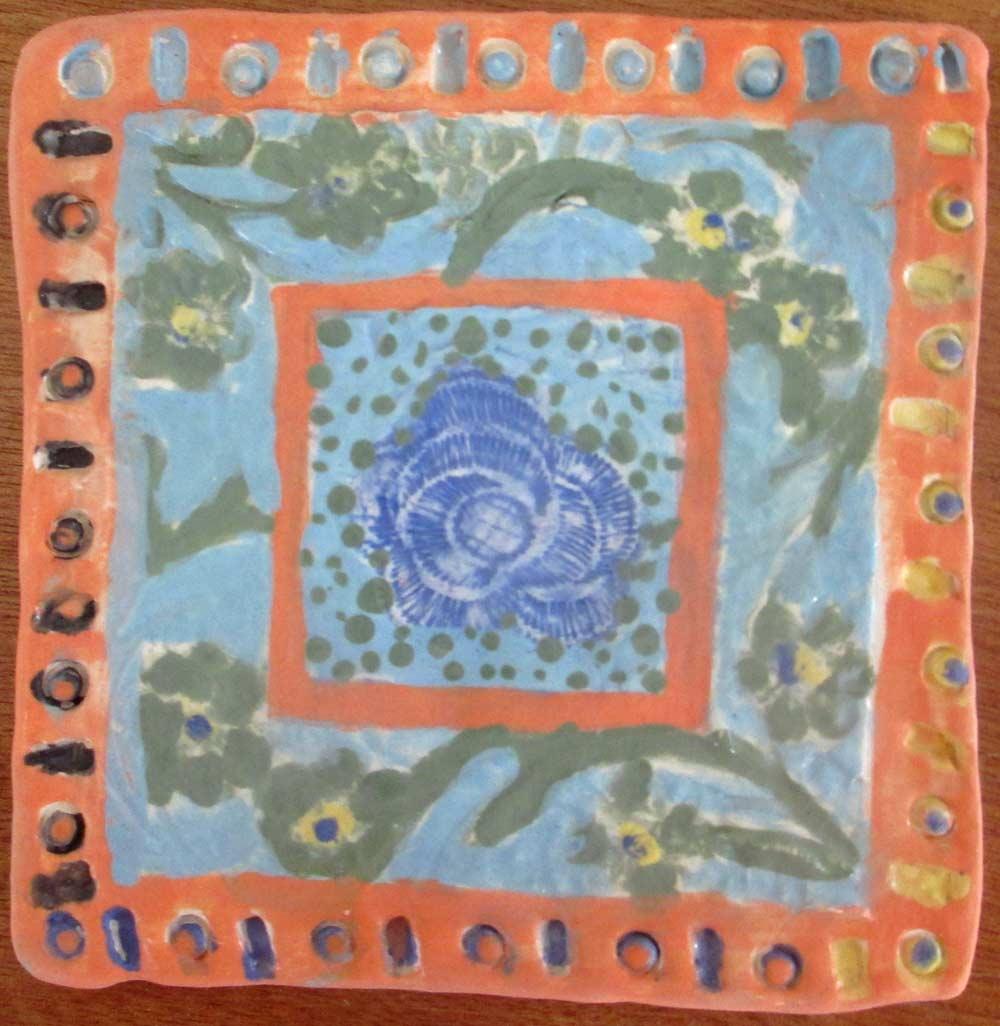 Blue Rose Flower Plate Zionart Ceramic studio Mullumbimby Australia
