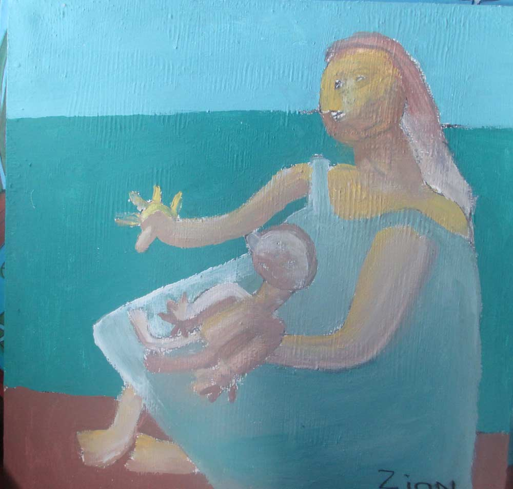 Mother and Baby a Painting by Zion Levy Stewart an artist from Mullumbimby Australia