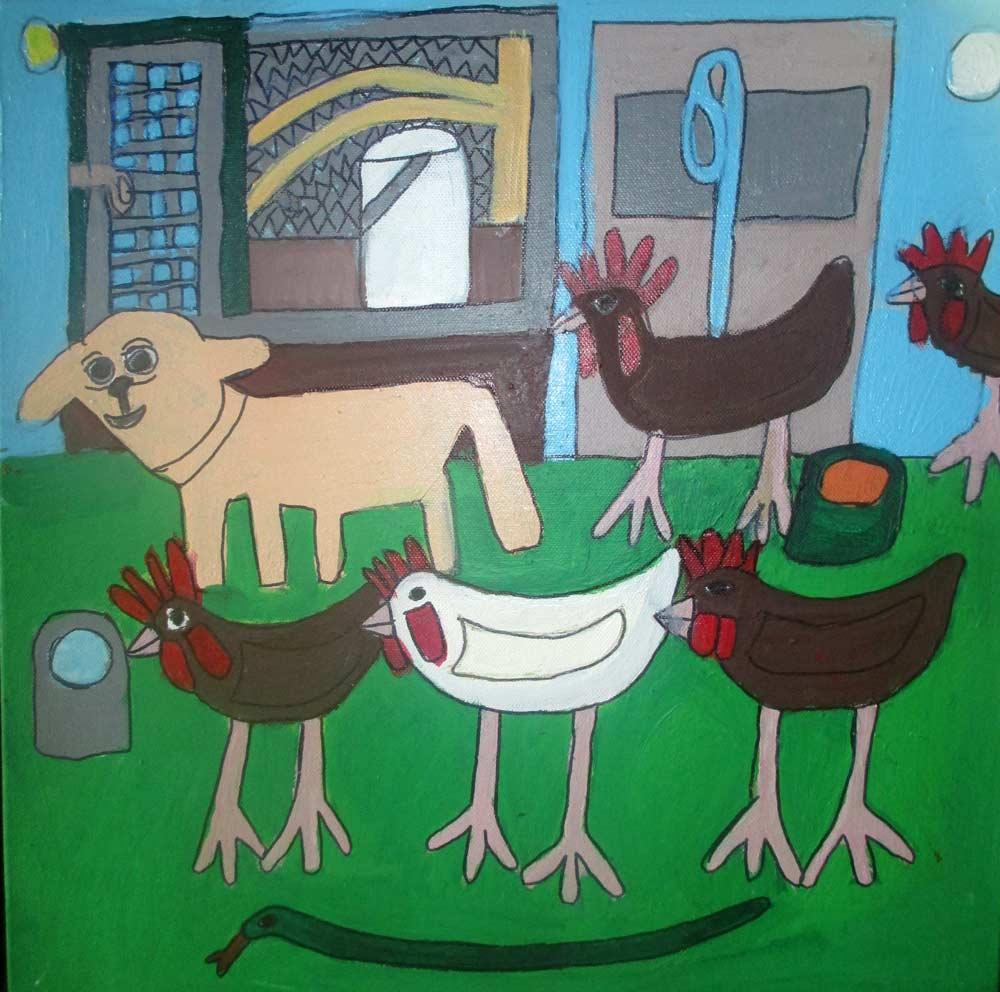 Patch and the Chooks Painting Zionart Art Studio Mullumbimby Australia