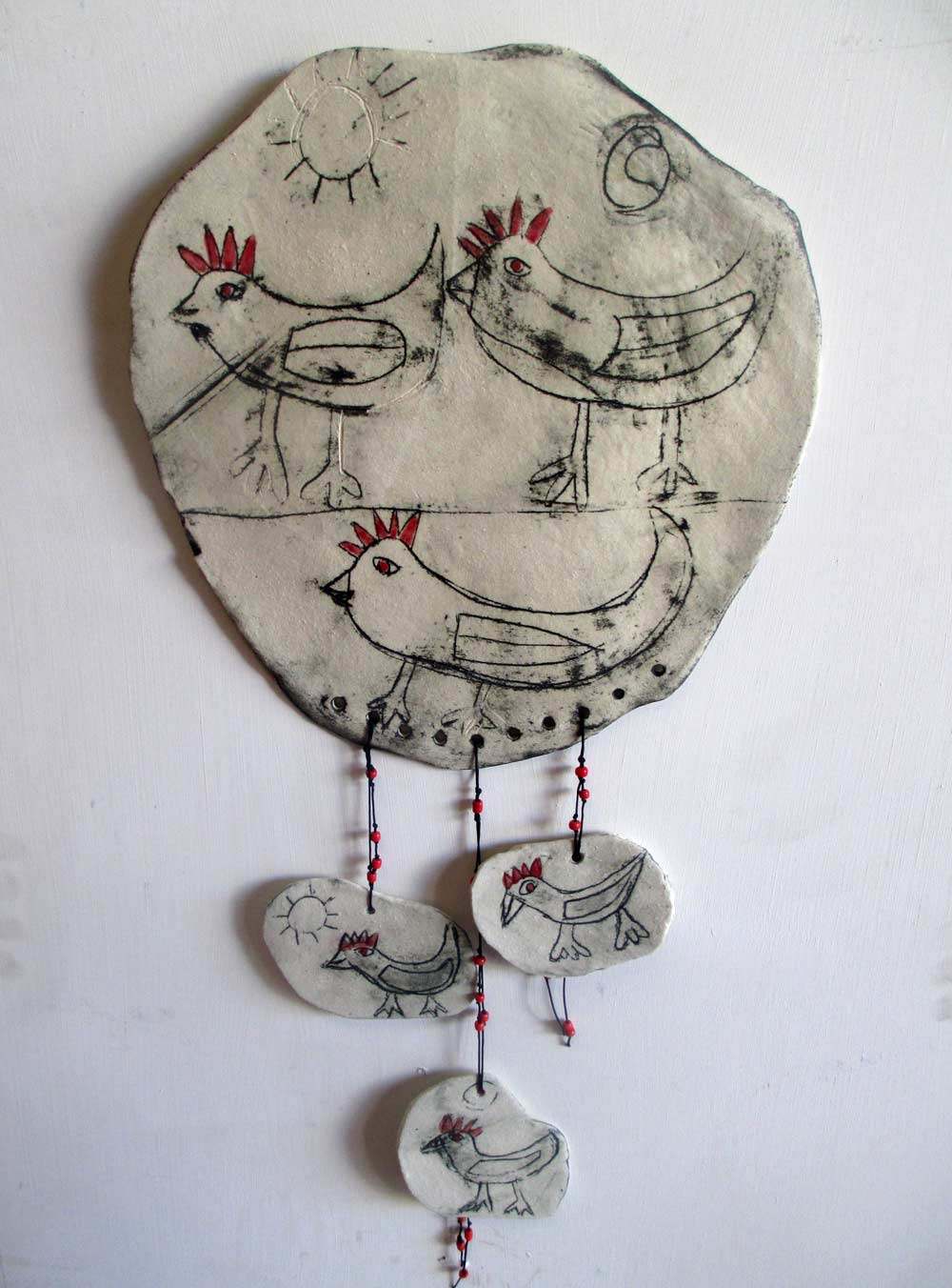 Three Chooks Ceramic Wallhanging zionart mullumbimby studio