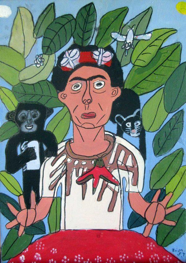 Zion Levy Stewart Painting Frida Kahlo Cat Monkey