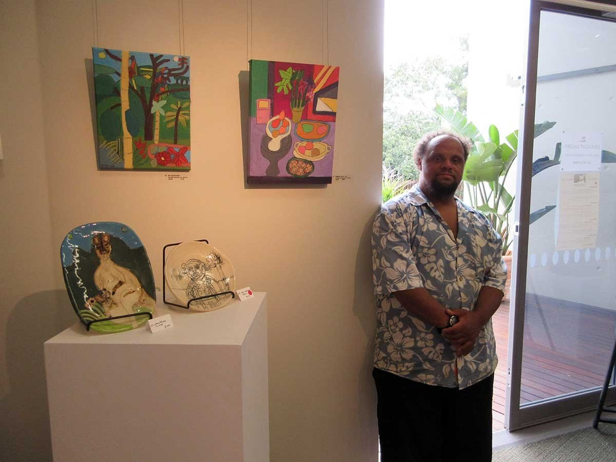 Zion Levy Stewart reflecting at Lone goat gallery exhibition byron Bay