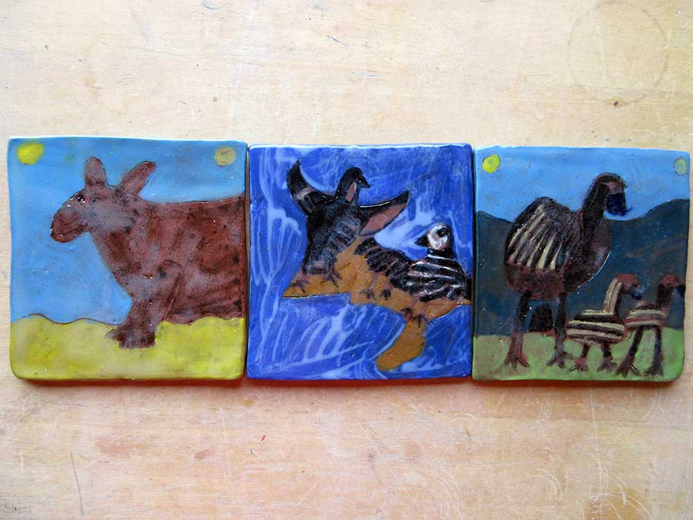 Animal Tiles Ceramic Art by Zion Levy Stewart