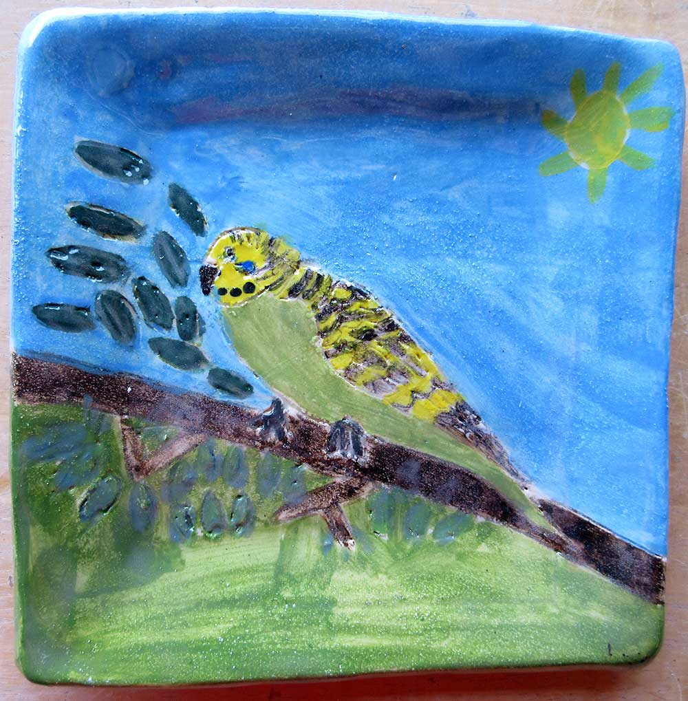 Budgie Plate Ceramic Art by Zion Levy Stewart