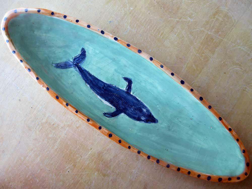 Whale dish Ceramic Art by Zion Levy Stewart