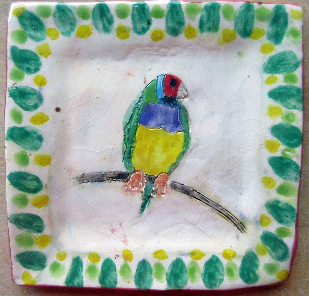 Gordian Finch Plate Ceramic Art by Zion Levy Stewart