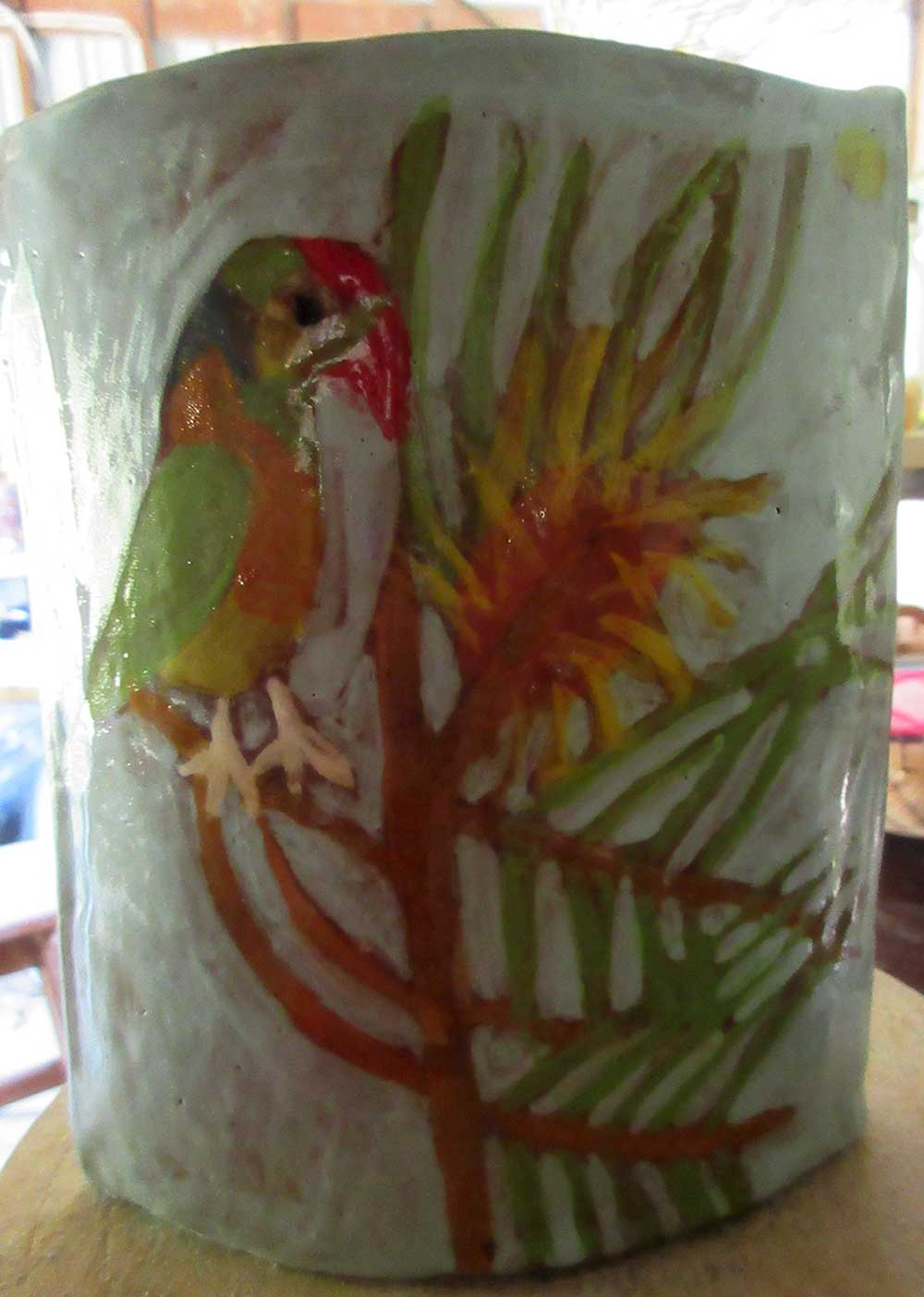 Parrot Vase Ceramic Art by Zion Levy Stewart