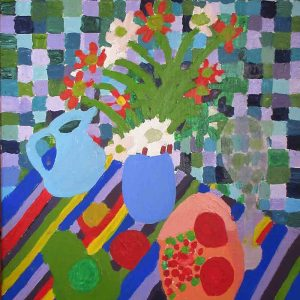 Zion Levy Stewart Blue Still Life Painting 2016