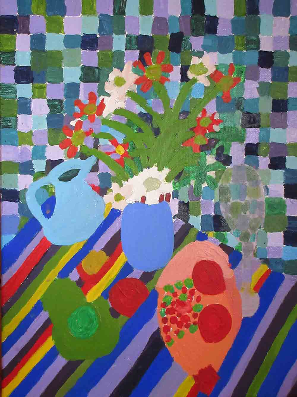 Zion Levy Stewart Blue Still Life Painting 2016