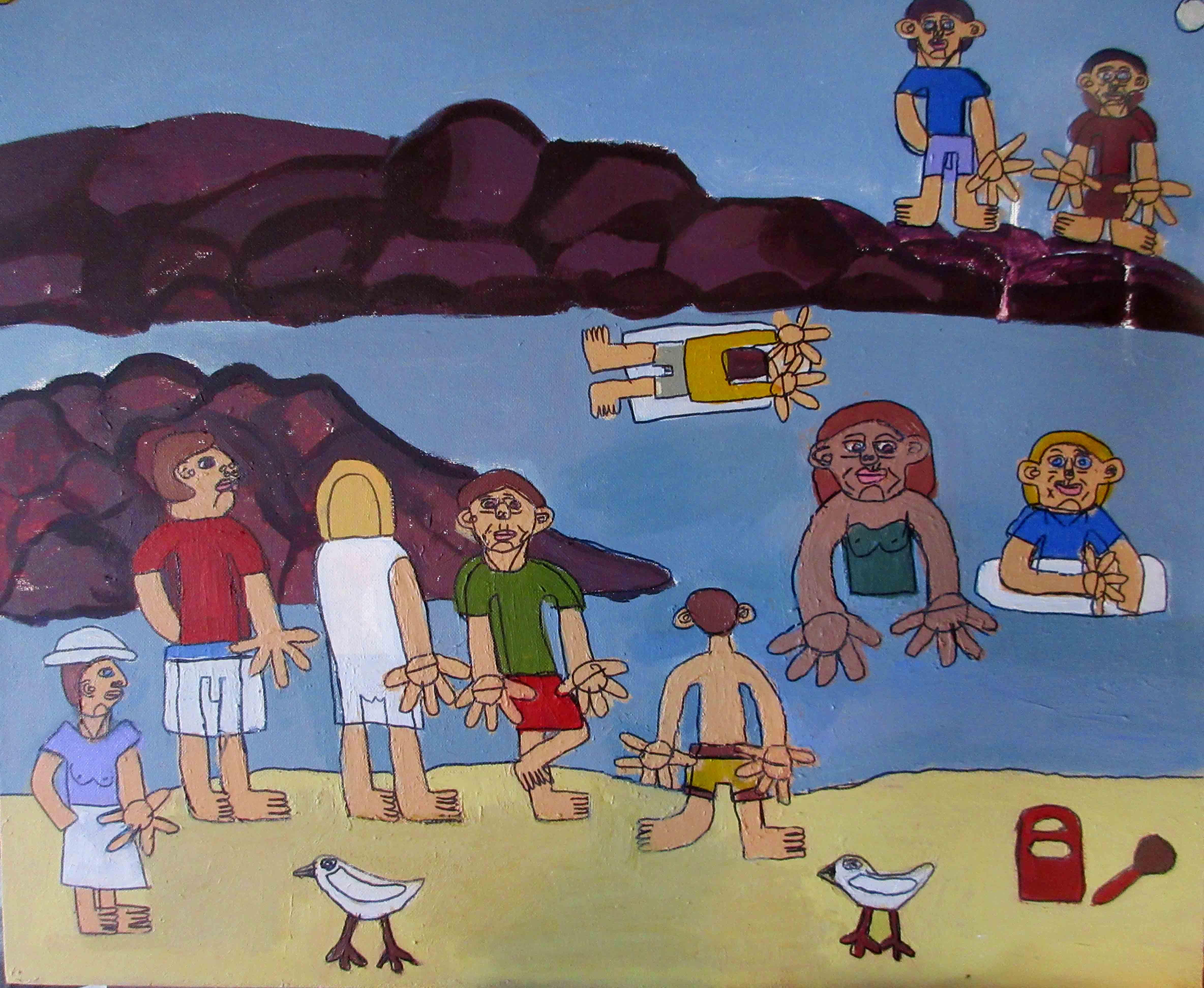 Zion Levy Stewart Torakina Beach Painting 2016