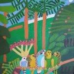 Five Budgerigars Acrylic on Board Art by Zion Levy Stewart at Zionart Mullumbimby