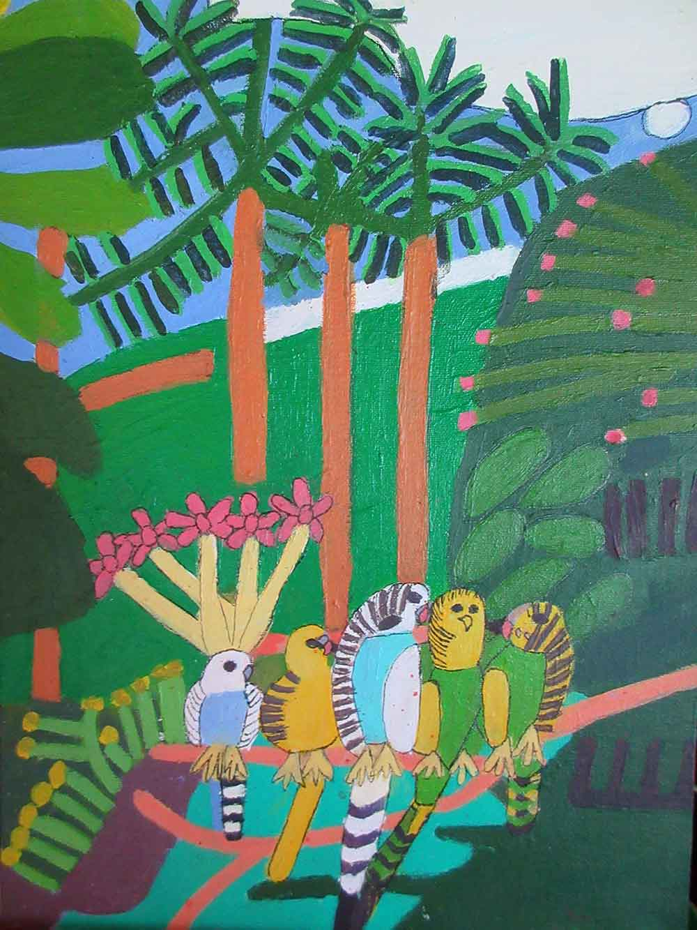 Five Budgerigars Acrylic on Board Art by Zion Levy Stewart at Zionart Mullumbimby