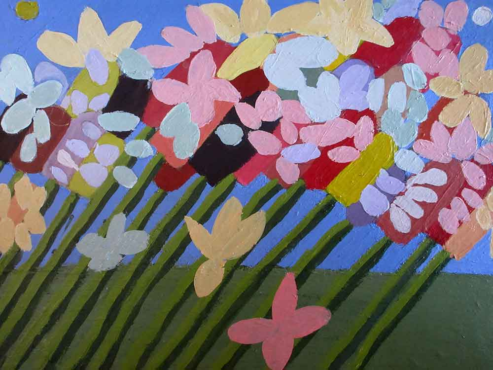 Flowers Acrylic on Board A painting by Zion Levy Stewart Paradise Mullumbimby