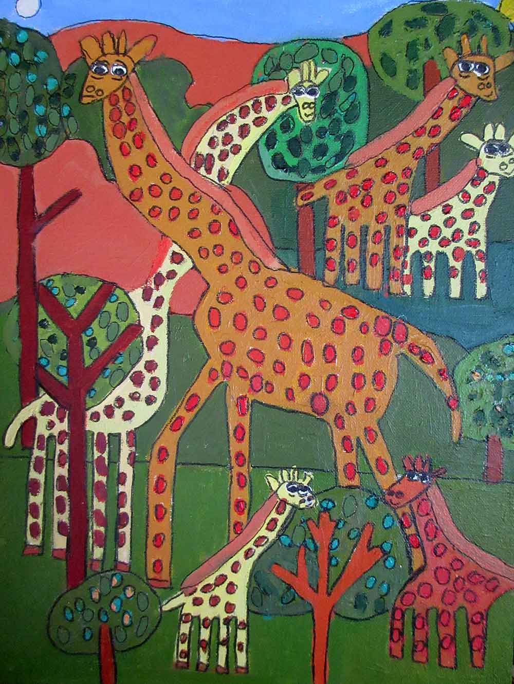 Giraffes acrylic on canvas a painting by Zion Levy Stewart Paradise Mullumbimby