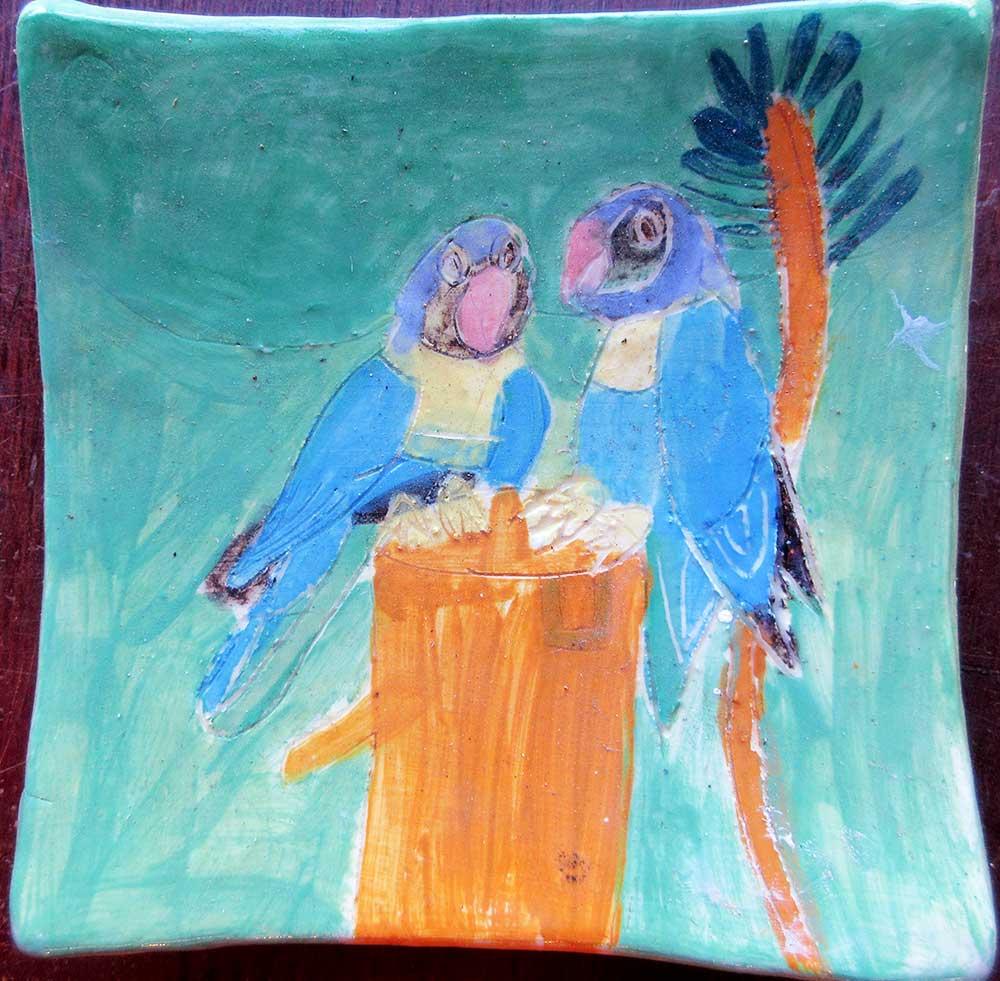 Blue Parrot Plate Zion Levy Stewart