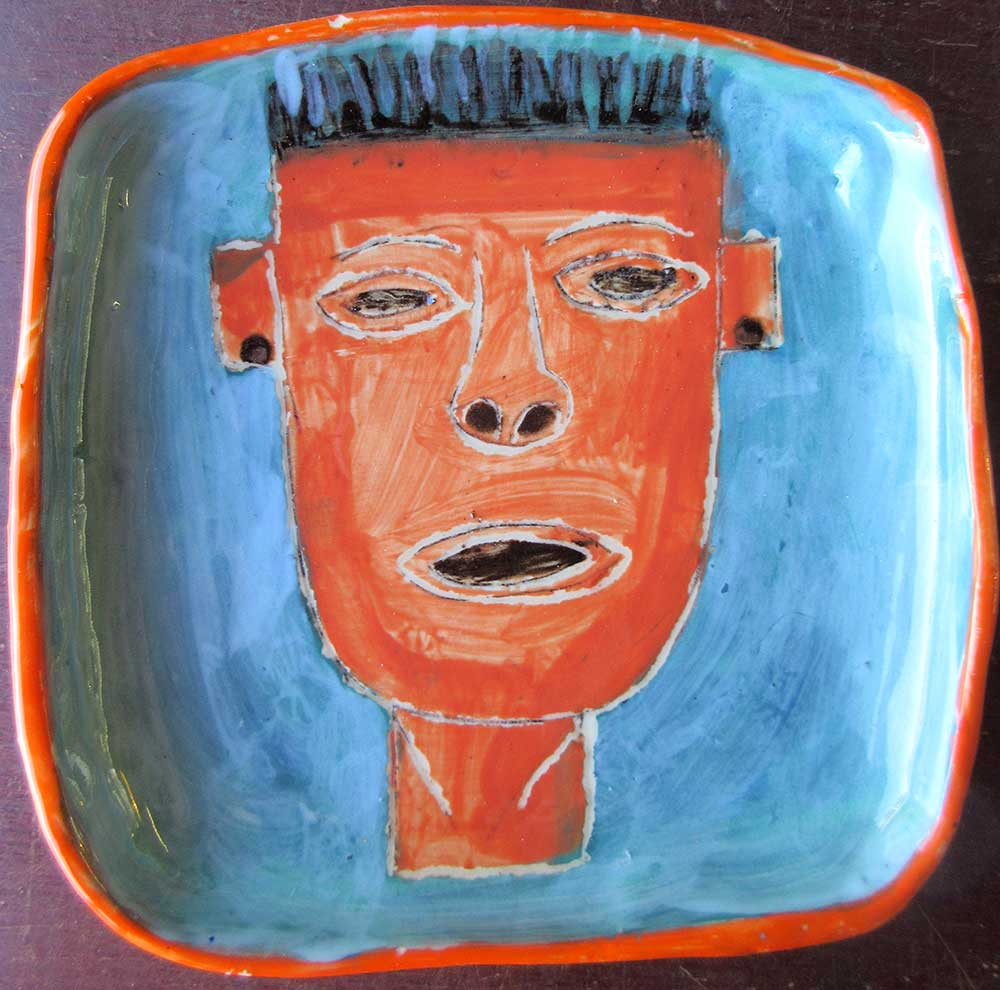 Head Plate Hand made and illustrated ceramics Zion Levy Stewart