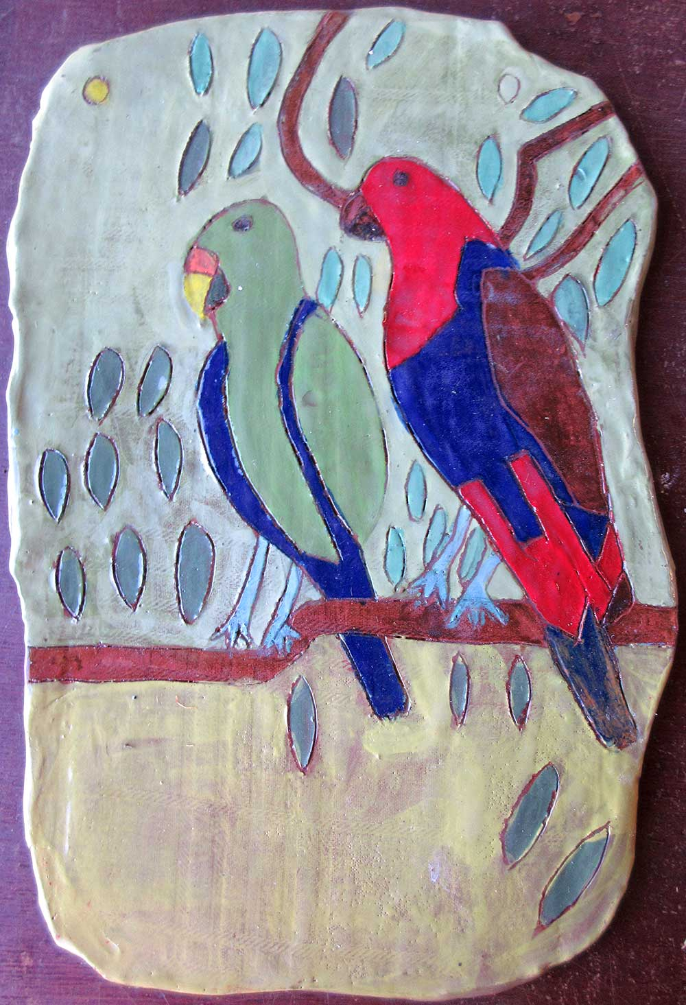 Parrots Platter Handmade and illustrated Ceramic Zion Levy Stewart
