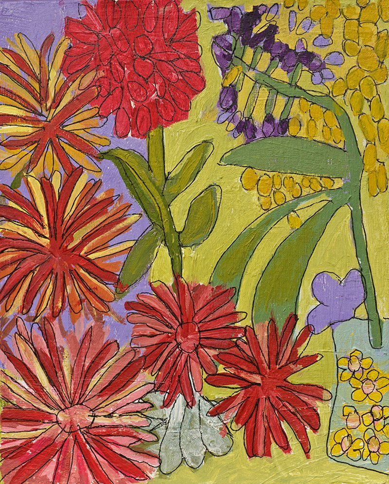 Dahlias Acrylic on Canvas painting Zion Levy Stewart Mullumbimby