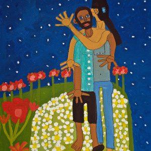 Embrace Painting Acrylic on Canvas Zion Levy Stewart Paradise Mullumbimby