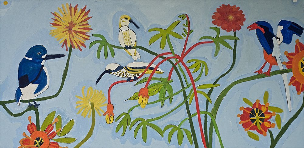 Flowers and Birds Acrylic on Canvas Zion Levy Stewart