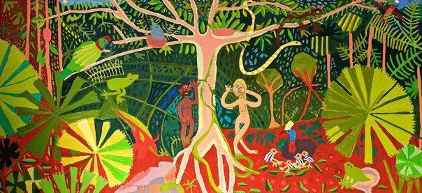 Adam and Eve in the Rainforest Greeting Card Zion Levy Stewart Artist Mullumbimby