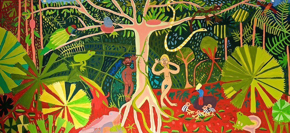 Adam and Eve in the Rainforest Greeting Card Zion Levy Stewart Artist Mullumbimby