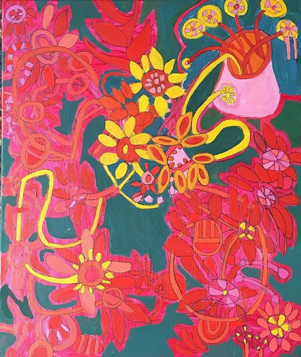 Red Flowers Greeting Cards Zion Levy Stewart Artist Mullumbimby