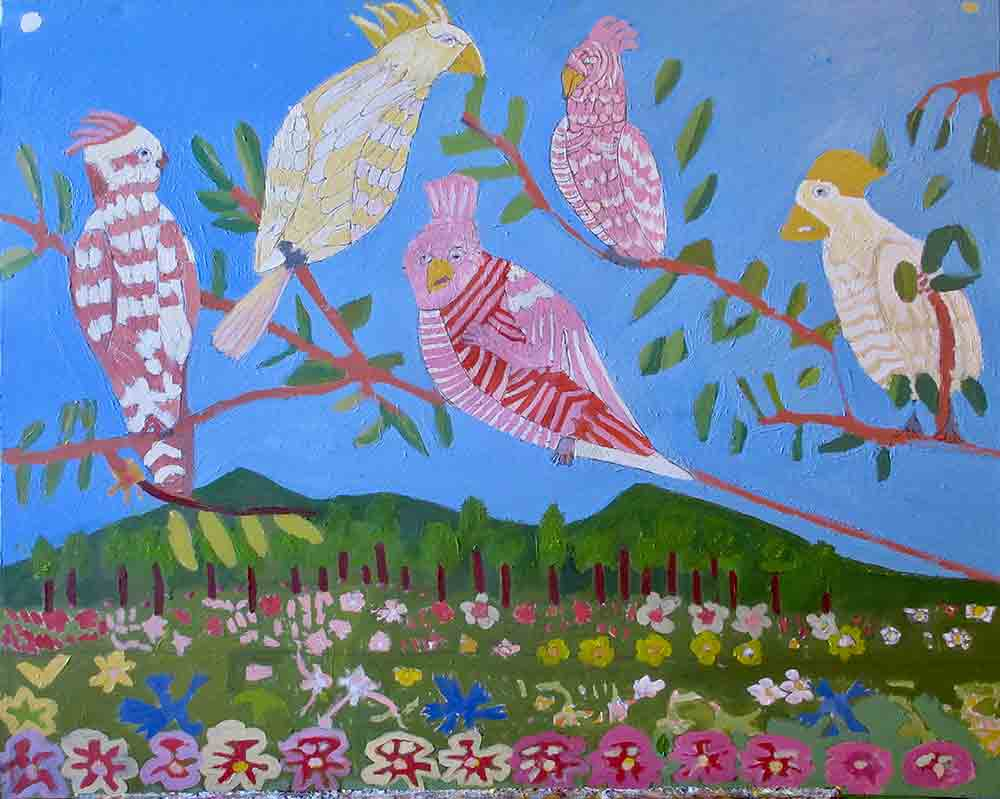 Cockatoos Acrylic Painting Zion Levy Stewart Art with Heart Mullumbimby