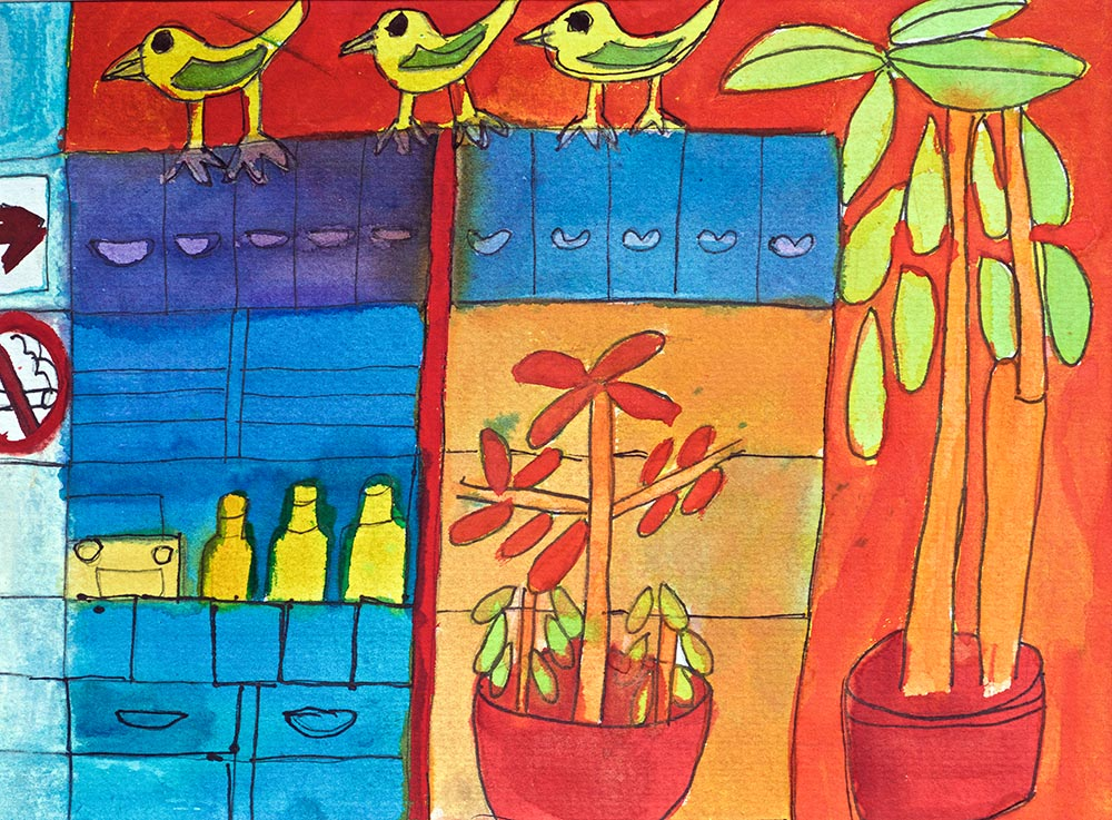 Hotel Mexicana Watercolour on Paper Art with Heart Zion Levy Stewart