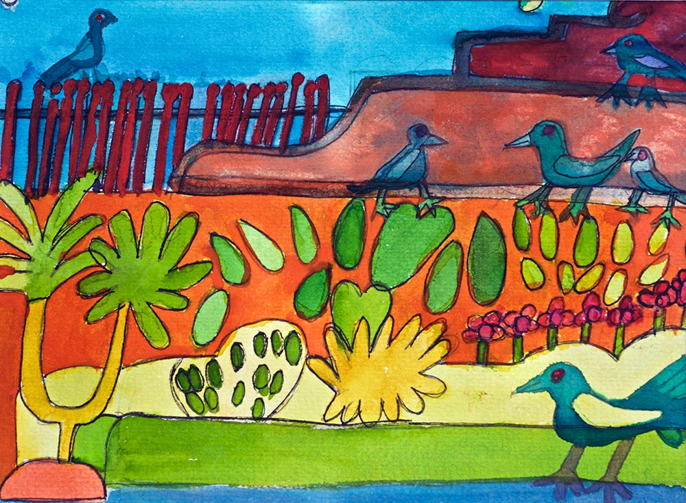 Garden Courtyard Watercolour on Paper Zion Levy Stewart Art with Heart Mullumbimby