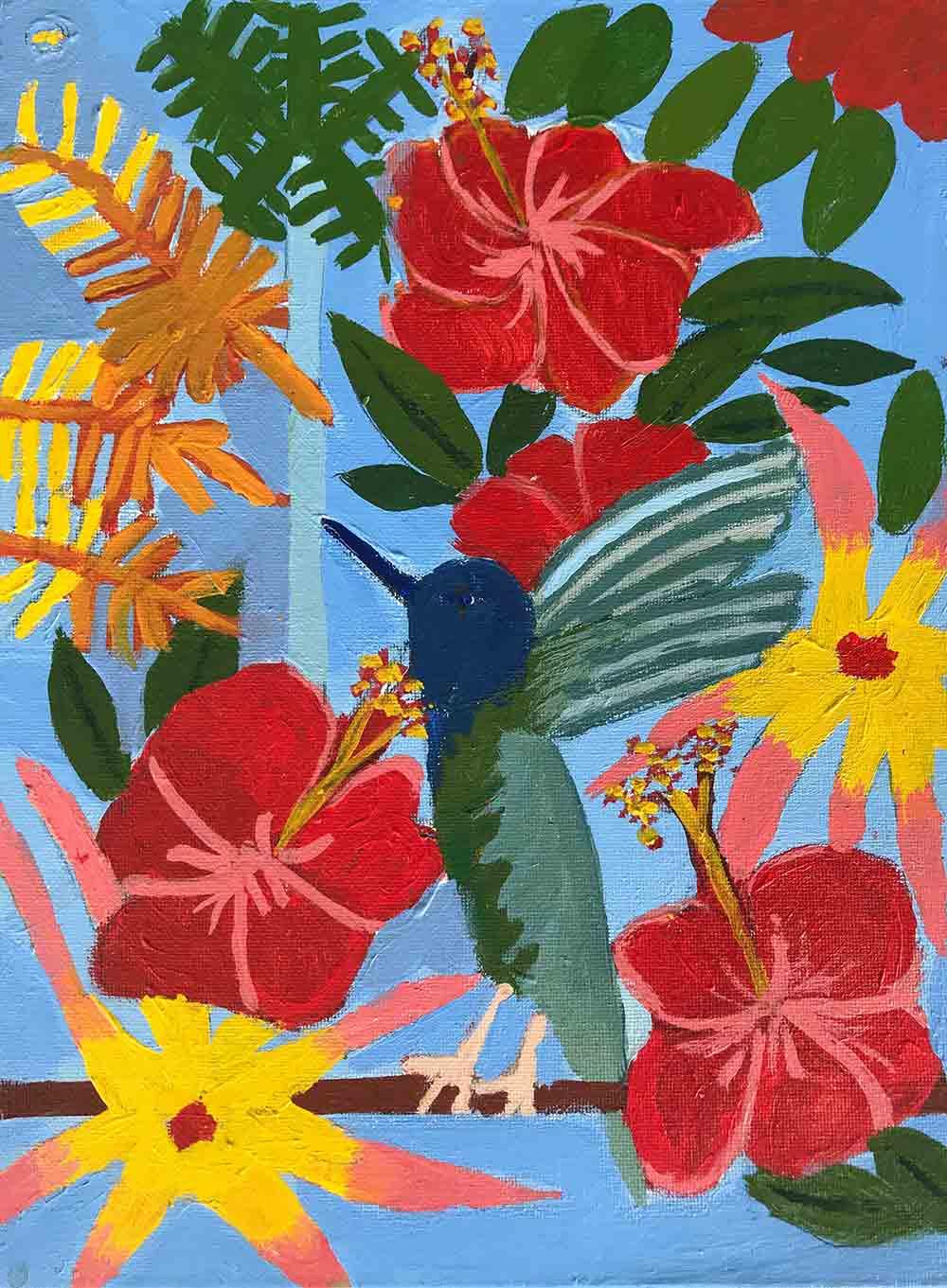 Exhibitions Hummingbird Acrylic on Canvas Zion Levy Stewart Art with Heart Mullumbimby
