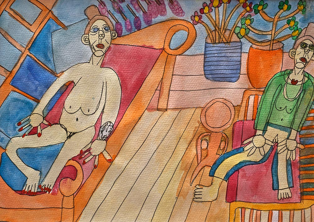 Relaxing Together Watercolour Zion Levy Stewart