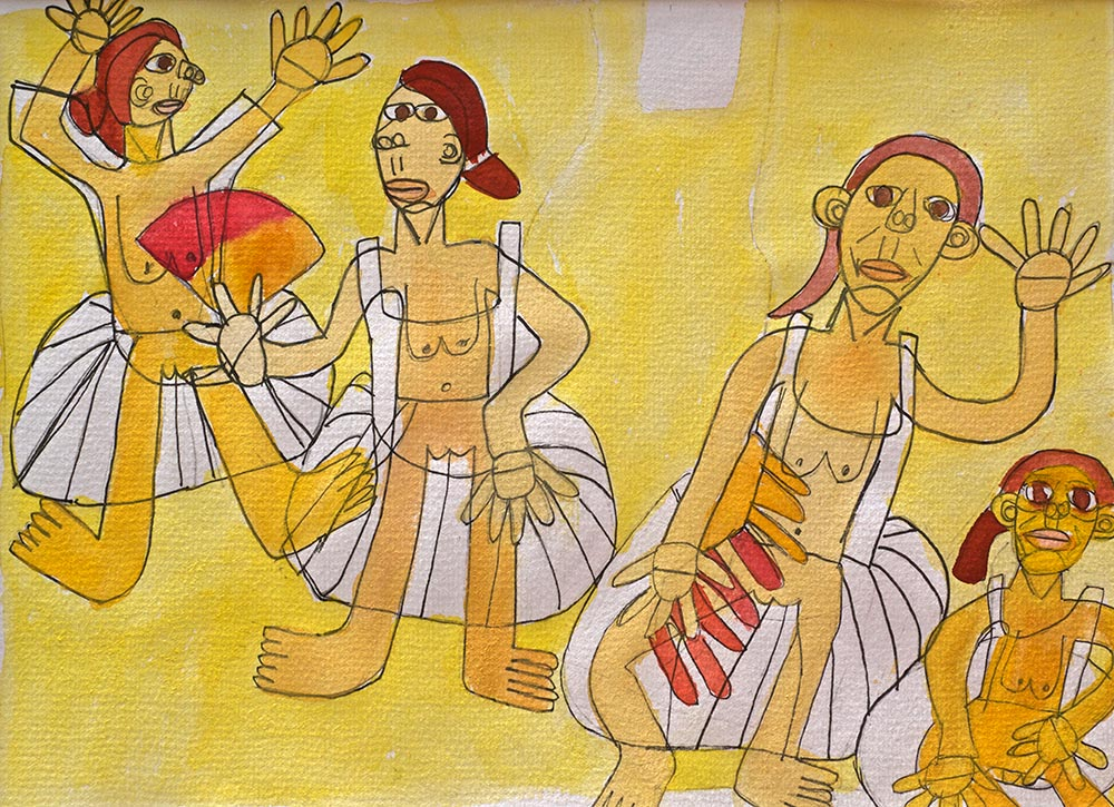 Yellow Dancers Framed Watercolours Zion Levy Stewart