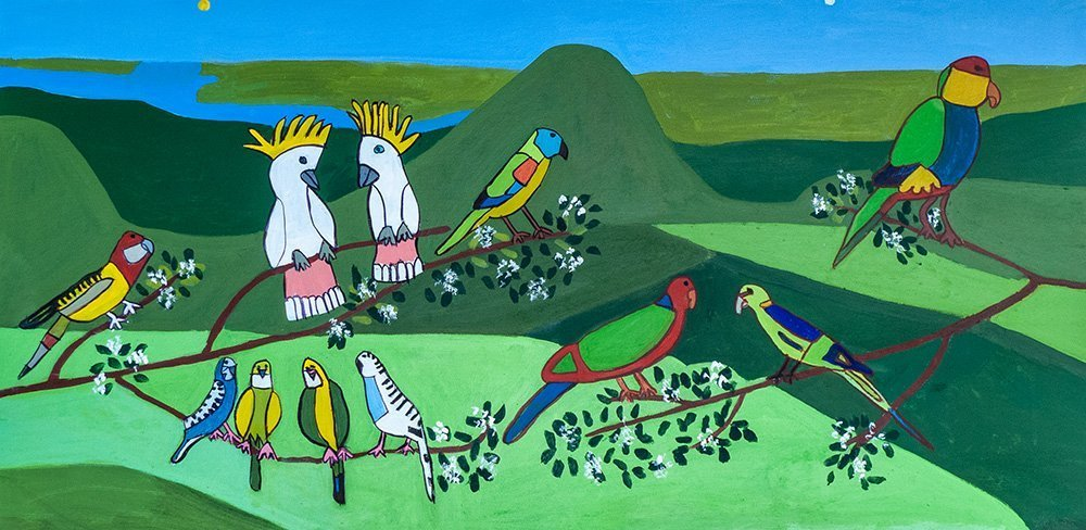 Parrots Acrylic on Canvas Zion Levy Stewart