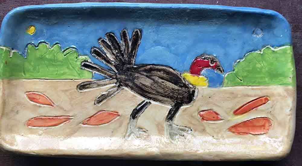 Bush Turkey Small Plate ceramic Zion Levy Stewart Paintings and Ceramics Mullumbimby Australia