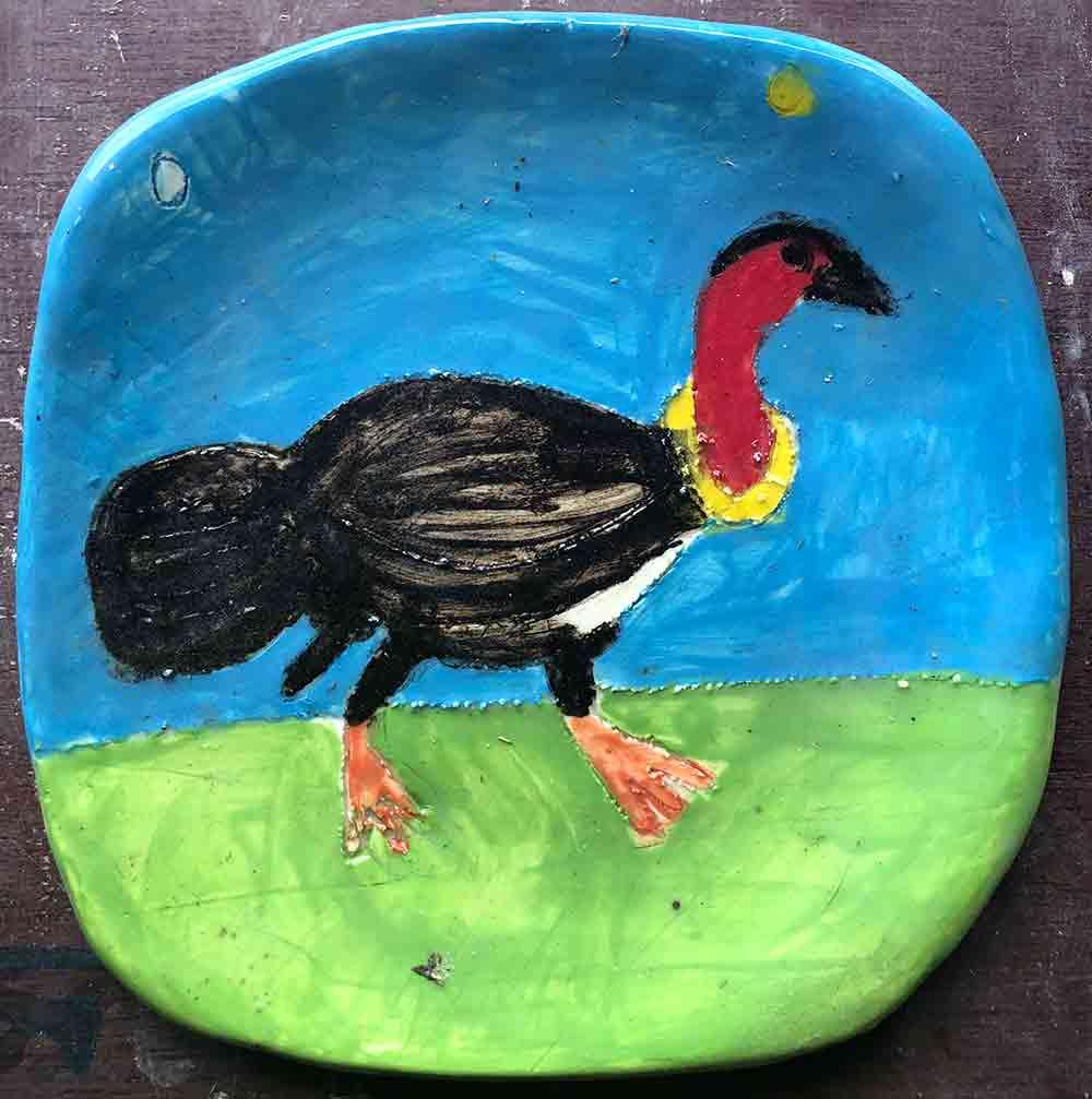 Bush Turkey Square Plate ceramic Zion Levy Stewart Paintings and Ceramics Mullumbimby Australia