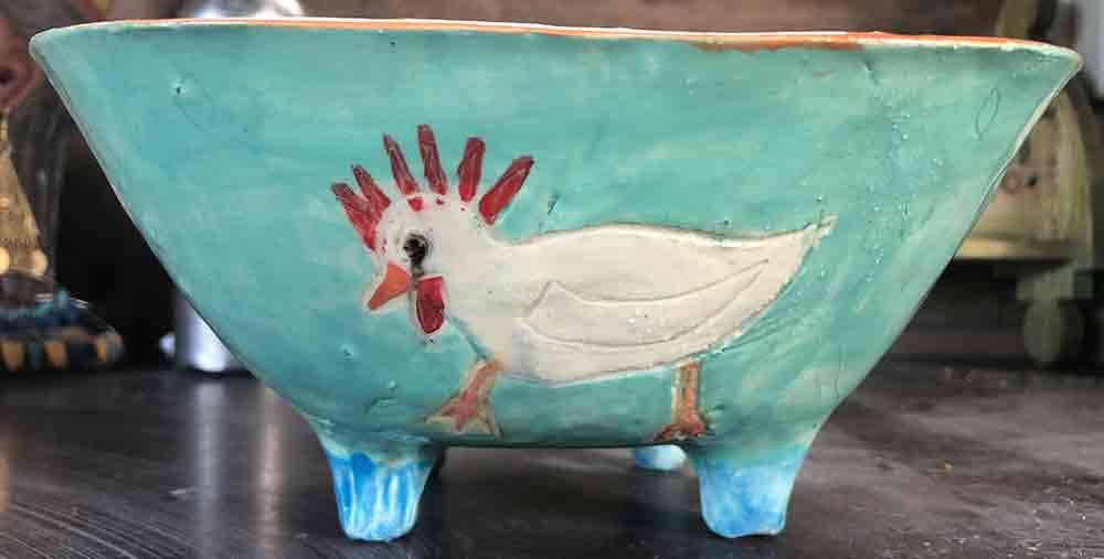 Chook Bowl ceramic Zion Levy Stewart Paintings and Ceramics Mullumbimby Australia
