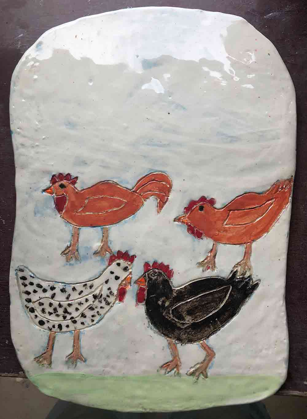 Chook Platter ceramic Zion Levy Stewart Paintings and Ceramics Mullumbimby Australia