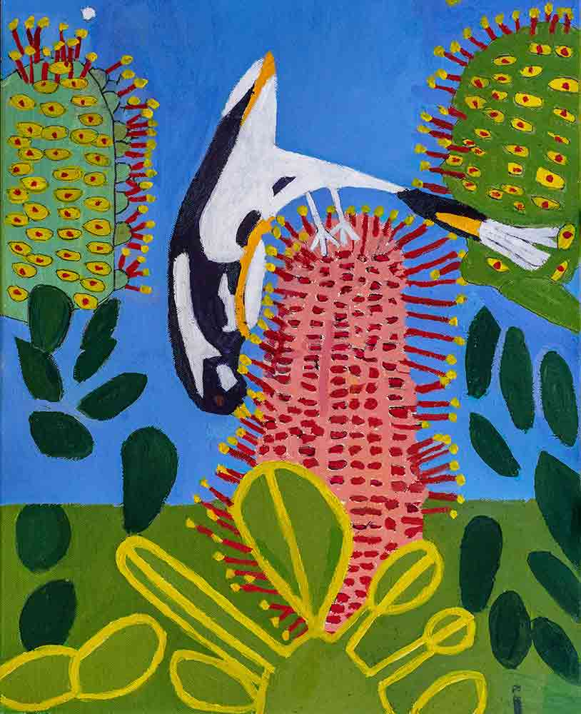 Grevillea Bird Acrylic on Canvas Zion Levy Stewart