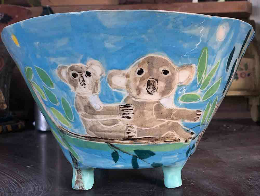 Koala bowl ceramic Zion Levy Stewart Paintings and Ceramics Mullumbimby Australia