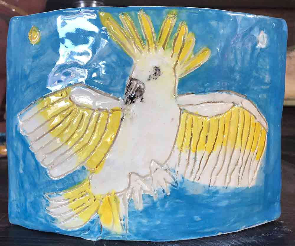 White Cockatoo Vase ceramic Zion Levy Stewart Paintings and Ceramics Mullumbimby Australia test