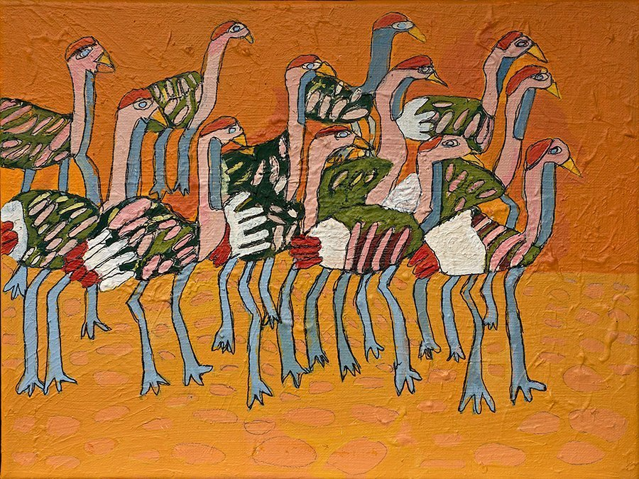 Emus Acrylic on Canvas painted by Zion levy Stewart Mullumbimby Australia